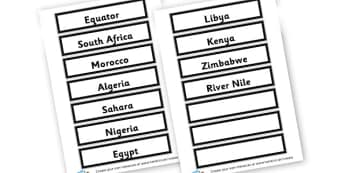 africa labels - Africa Literacy Primary Resources, continent, east africa