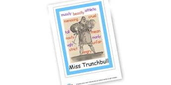 Miss Trunchbull Character Poster to Support Teaching on Matilda - Matilda , Display, Matilda, Story Books Role Play, Roald Dahl, Pr
