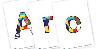 all around the world letters - display lettering - Geography Countries and Continents Primary Resources - Story Bank