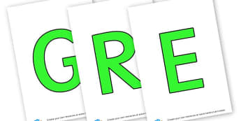 GREEN - display lettering - Green Themed Classroom Signs Primary Resources, classroom, labels