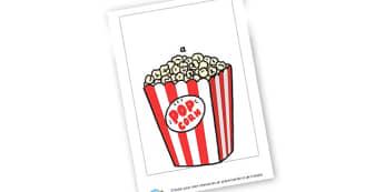 Popcorn - Cinema Role Play Primary Resources, Cinema, Film, movie, popcorn