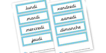 French Days of the Week Cards - French Days of the Week Primary Resources,French,Languages,Days
