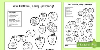Karta Rzuć kostkami dodaj i pokoloruj Owoce  - owoce, zdrowa, żywność, jedzenie, dodawanie, gra, jabłko, gruszka, arbuz, owocowe, dodaj, kostka