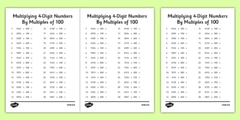 Multiplying 4-Digit Numbers by Multiples of 100 Activity Sheet Pack -calculations, thousands, maths, mathematics, multiply, times, place value, worksheet