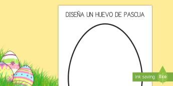 Ficha de actividad: Diseña tu propio huevo de Pascua - pascua, semana santa, arte, plástica, colorear, colores, pintar, diseño, diseñar, huevo de Pascua