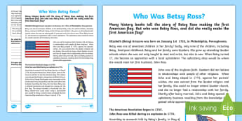 Who Was Betsy Ross? Activity Sheet - Flag Day, Betsy Ross, American Flag, First American Flag, United States Flag, worksheet, Biography,