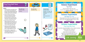 EYFS Toys Science Experiments Resource Pack - Toys, potential energy, air pressure, table tennis, ping-pong, pull back car, potential energy, ball