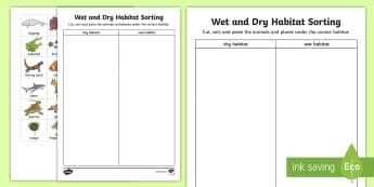 Wet and Dry Habitat Sorting Activity Sheets - sea, ocean, australian animals, australian flora, australian fauna, ACSSU211, beach, animal homes,Au