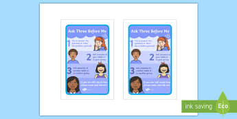 Ask Three Before Me Prompt Frame - Growth Mindset, learning, goals, progress, self-awareness, metacognitive, metacognition,  group work