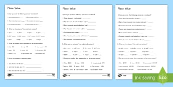 Place Value Differentiated Activity Sheet  - place value, differentiated ability, math, numbers