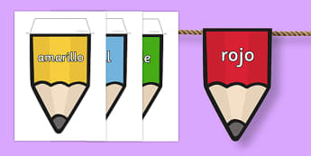 Colours on Pencil Bunting Spanish - colours, pencil, bunting, spanish, display