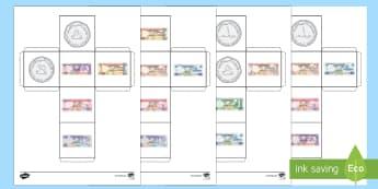 مكعب عملة الإمارات  - النرد، مكعب، عملة، النقود، عربي، حساب، رياضيات