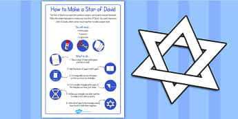 Fold and Cut Star of David Paper Activity - star of david, judaism, star, fold