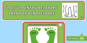 Spațiul pentru relaxare și dat din piciorușe  - educație specială, furie, emoții, română, materiale, dezvoltare personală, activități, relax