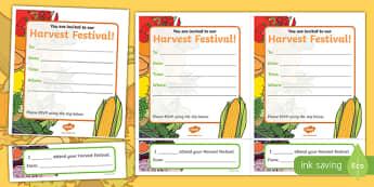 Harvest Festival Invitations Writing Template