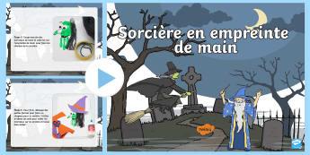 PowerPoint : Instructions pour créer une sorcière en empreinte de main - Sorcier, Sorcière, Magie, Halloween,composition plane, Arts Plastiques, Cycle 1, Cycle 2
