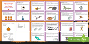 Halloween Fractions Challenge Cards Romanian/English - Halloween, EAL  october, festival, autumn, celebration, spooky, ghosts, witch, zombies, challenge, m