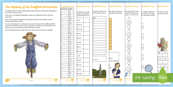 UKS2 The Mystery of The Snaffled Scarecrows Maths Game - Murder mystery, problem, challenge, fractions, column, algebra