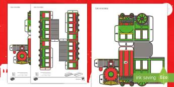 手工制作圣诞立体火车 - 圣诞节,节日,庆典,手工制作,立体火车,圣诞火车