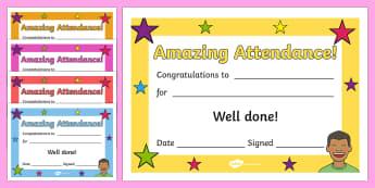Full Attendance Certificate, 100%, certificates, award, well done, reward, medal, rewards, school, general, certificate, achievement