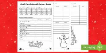 UKS2 Mixed Calculation Christmas Jokes Activity - fun, xmas, maths, adding, subtracting, word problems, themed, ks2, junior, multiplication, division