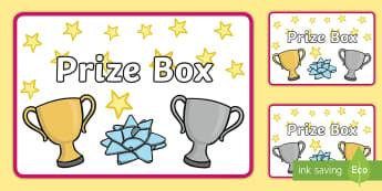 Prize Box Labels - rewards, stickers, basket, sign, winning,
