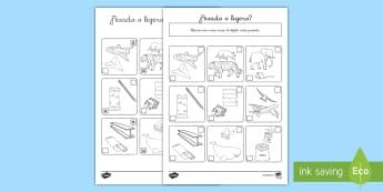 Ficha de actividad: ¿Pesado o ligero? - medida, peso, ligero, comparar, comparación, ficha, mates, matemáticas, medir, masa,Spanish