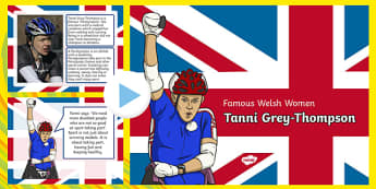 Famous Welsh Women Tanni Grey Thompson PowerPoint - welsh, cymraeg, Tanni Grey-Thompson, Paralympian, Medals, Information