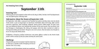 September 11th News Reporter Activity Sheet, worksheet