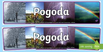 Banner na gazetkę Pogoda - banner, gazetka, gazetkę, pogoda, pory, pora, roku, burza, słońce, deszcz, wiatr, pogodowy,Polish
