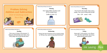 Week 18 - Problem Solving - Addition and Subtraction Challenge Cards - problem, word problem, rude, addition, subtraction