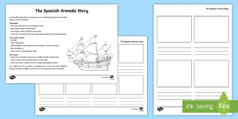KS2 The Spanish Armada Comic Strip Activity Sheet - Spanish Armada, armada, king philip, philip I, elizabeth, queen elizabeth, ships, battle, history, t