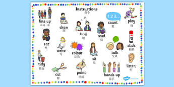 New EAL Starter Instructions Word Mat Chinese Mandarin Translation - mandarin, literacy, words, mats