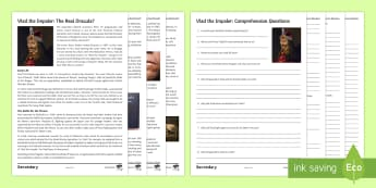 Vlad the Impaler Differentiated Reading Comprehension Activity  - gothic, reading, comprehension, halloween, monsters,