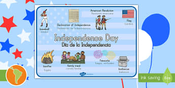 Independence Day Word Mat South American Spanish Translation - US English/Spanish (Latin) - Inglés E.E.U.U - Independence Day Word Mat - independence day, word mat, mat, wordmat, 4th july, spanish, eal