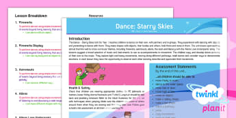 PlanIt PE Year 1 Dance: Starry Skies Planning Overview - Key Stage 1, KS1, fireworks, streamer, movement, Y1, exercise, autumn, physical education, bonfire n