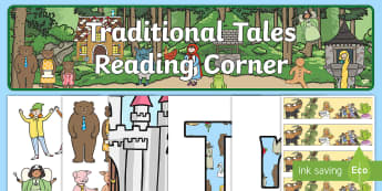 Reading Corner Traditional Tales Themed Display Pack - reading area, book area, book corner, books, reading, library, reading corner, traditional tales, fa