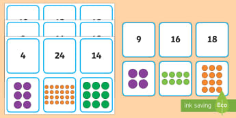 Array Matching Cards - Year 1, Maths Mastery, multiplication, multiply, times, lots of, product, divide, division, share, e