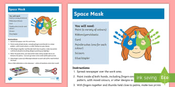 Space Mask Hand Painting Activity - art, craft, special education, sensory, hands, feet, mask, Colour,