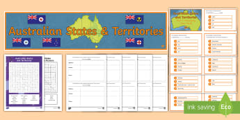 Australian States and Territories Activity Pack - ACHASSK066, Year 3, Geography, Australian Curriculum, vocabulary, languge, spelling, prior assessmen