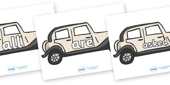Tricky Words on Wedding Cars - Tricky words, DfES Letters and Sounds, Letters and sounds, display, words