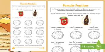 Pancake-Themed Equivalent Fractions Activity Sheet - CfE Pancake Day, equivalent fractions, shrove Tuesday, quarter, half, halves, same,Scottish
