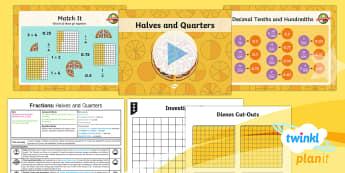 PlanIt Y4 Fractions Decimal Equivalents Lesson Pack - Fractions, decimals, equivalents, decimal equivalent, half, halves, quarter, quarters, three quarter