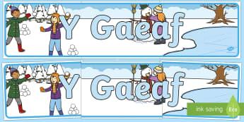 Winter Display Banner Welsh - Gaeaf, Arddangosfeydd, Tymhorau, Cyfnod Sylfaen, Welsh
