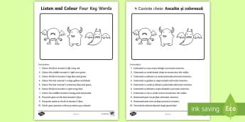 Listen and Colour 4 Key Words Activity Sheet English/Romanian - listening, receptive language, ICW, information carrying word, attention, worksheet SLCN, language d