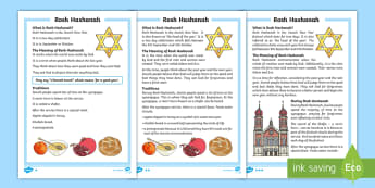 KS1 Rosh Hashanah  Differentiated Fact File - New Year, God, New Start, Reflection, Improvement
