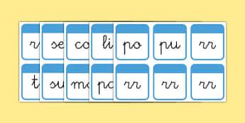 El tiempo y las estaciones del año Tarjetas de sílabas-Spanish