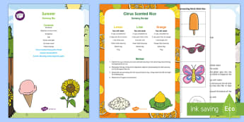 Summer Sensory Bin and Resource Pack - seasons, holiday, sunshine, sensory play, sensory tray, citrus