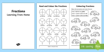 Year 2 Fractions Learning From Home Maths Activity Booklet - Learning from home Maths Workbooks, fractions, year 2, thirds, quarters, halves