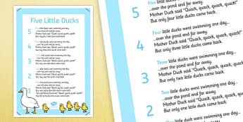 5 Little Ducks Nursery Rhyme Poster - rhymes, display, poems, went swimming one day